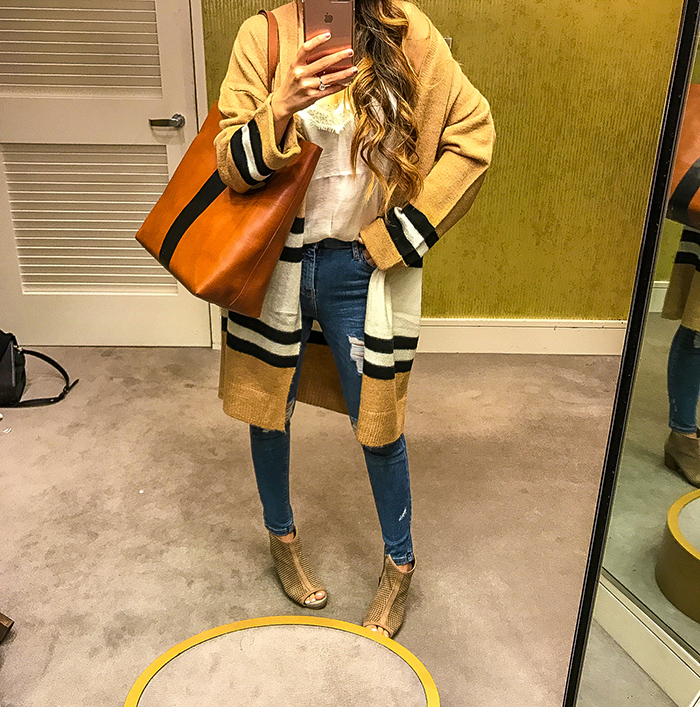 Nordstrom anniversary sale, nordstrom anniversary sale 2017, nordstrom anniversary sale 2017 try on haul, san francisco fashion blog, san francisco style blog, nsale picks, topshop stripe cardigan, madewell leather tote, bp cami, topshop skinny jeans, hush puppies bootie sandals