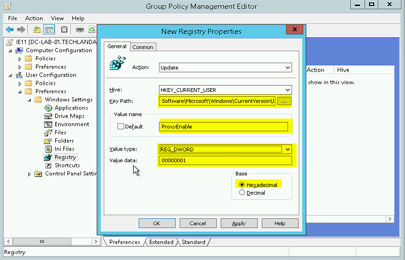 Configure IE11 Proxy Settings Via Group Policy in Windows