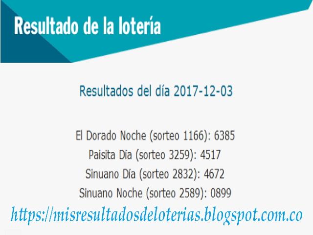 Como jugo la lotería anoche | Resultados diarios de la lotería y el chance | resultados del dia 03-12-2017