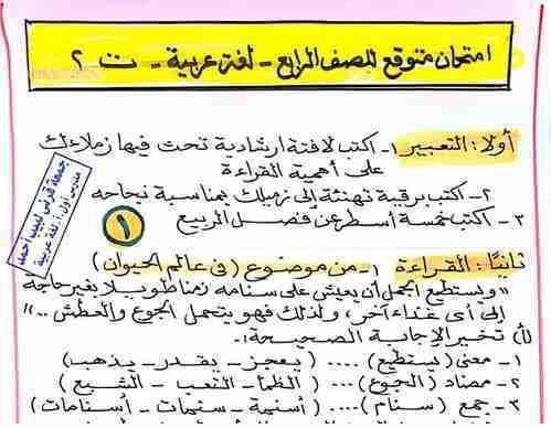 امتحان لغة عربية متوقع بالاجابات للصف الرابع الابتدائي ترم ثاني 2019 مستر جمعه قرنى