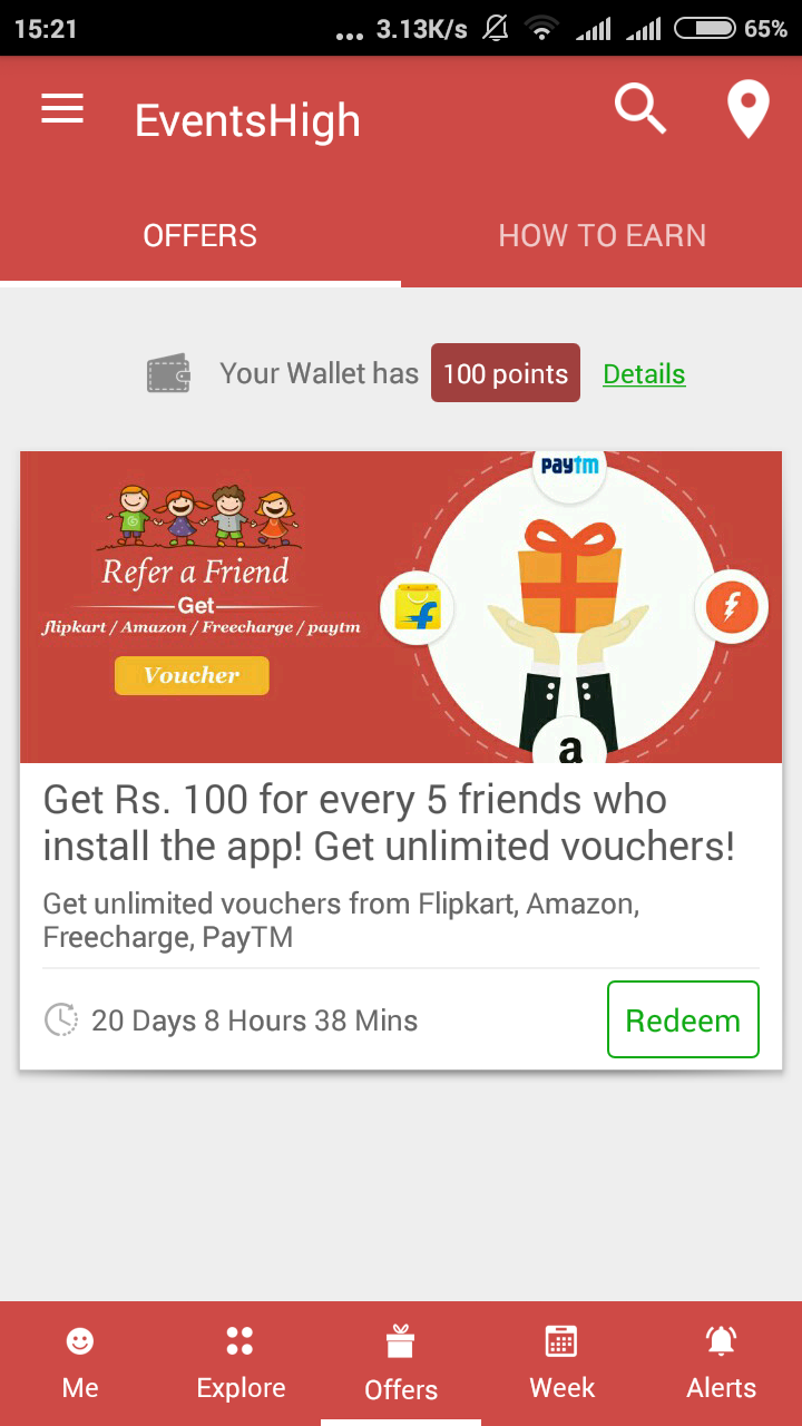 Prood Added] Eventshigh App Offer - Get Rs 100 FreeCharge, Paytm