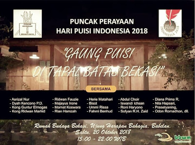 Peringatan puncak Hari Puisi Indonesia (HPI) Bekasi Raya