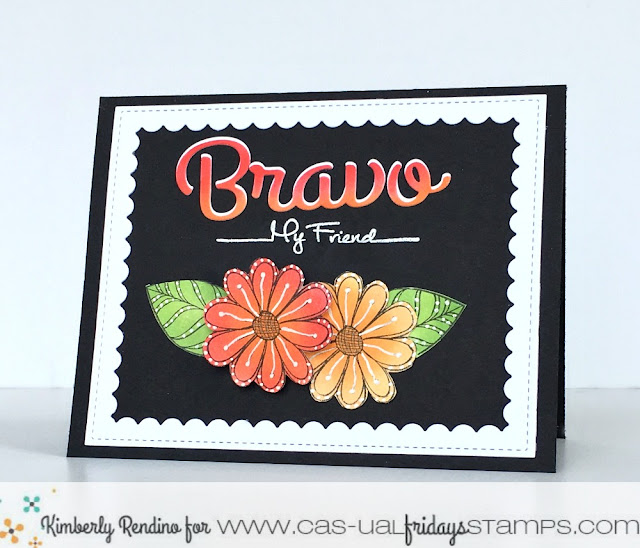bravo | handmade card | distress ink | cas-ual fridays stamps | pretty posies | kimpletekreativity.blogspot.com
