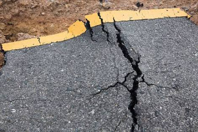 cracks on roadway