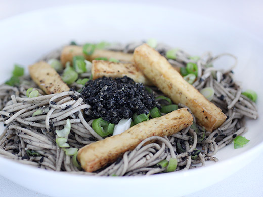 lisa is cooking: Black Sesame Otsu with Soba Noodles and Tofu
