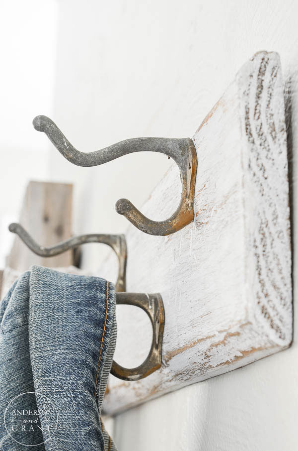 Perfectly aged hardware with lots of patina on this vintage coat rack.  ||  www.andersonandgrant.com