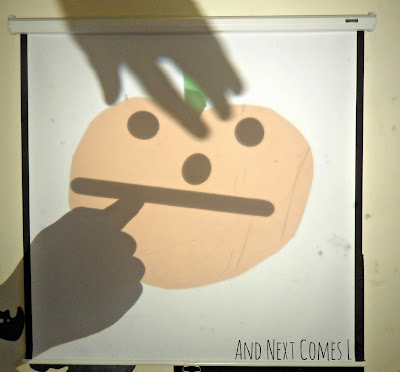 Making jack-o-lanterns on the overhead projector from And Next Comes L