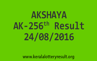 24-08-2016 SATURDAY AKSHAYA AK-256 KERALA LOTTERY RESULTS