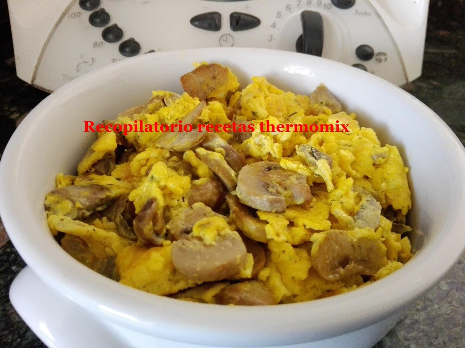 Revuelto champinones huevo thermomix