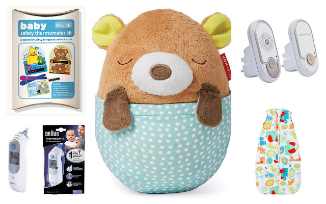 So I thought I would share with you my top 5 nursery essentials.   Room Thermometer  I am always cold so I find it really difficult to know how warm a room is for a baby without using a thermometer. I have never used anything fancy, just one like this has done the job just fine. Just obviously don't put it right over the radiator or by the window, I have always placed ours on a shelf just by where the cot is to give a good reading. This is a good little kit because the bath one could come in handy too.   Baby Thermometer  This item is a must have. I don't know what I would do without ours. I have had the same one since having Daisy and it is one we were handed down. It works a treat and can really put your mind at rest if your little one is unwell or maybe you think they feel warm. We have one that can go in the ear but you can get all kinds of scanning type ones now which look even better!  Projection Soother  There are lots of soothers around now, we had several with Daisy but I find the ones that can have light lullaby's and a light show the most effective. They really aid the little one to fall off to sleep on their own and it can soothe them if you just want to pop them down for a while. We have the Hug Me Projection Soother at the moment which we just love.   Sleep Sacs  I am not a fan of loose blankets in babies cots. There are too many horror stories and with a sleep sac you don't have such a worry and also you know they should be nice and toasty, but not too hot. Gro bags tends to be our favourite because of the designs available and they wash really well too.   Monitor  Again for safety reasons and to put my mind at rest. We don't have a fancy video one, I have never felt a need for one and they were much more expensive when I bought one 3 years ago for Daisy.