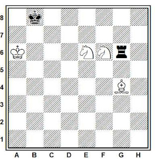 Estudio artístico de ajedrez compuesto por H. Rinck (L'Alfiere di Re, Palermo, 1921)