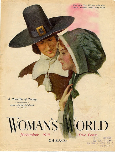 Woman's World Magazine cover November 1915. Artwork of a Pilgrim couple. Was She on the Mayflower and other stories of giving thanks. marchmatron.com