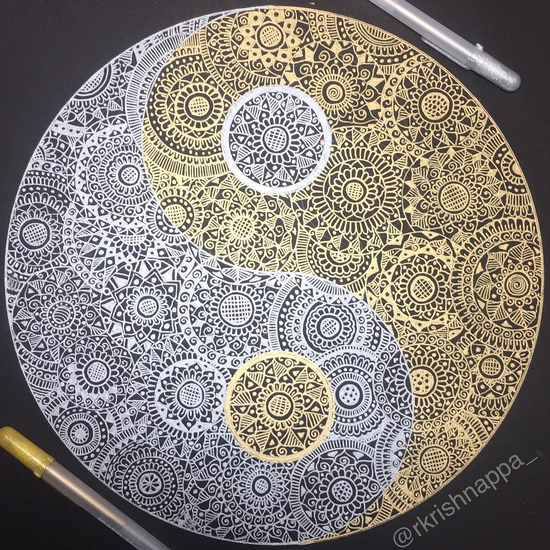 07-Gold-and-Silver-Yin-and-Yang-Rashmi-Krishnappa-Calm-and-Serenity-in-Balanced-Pen-drawings-www-designstack-co