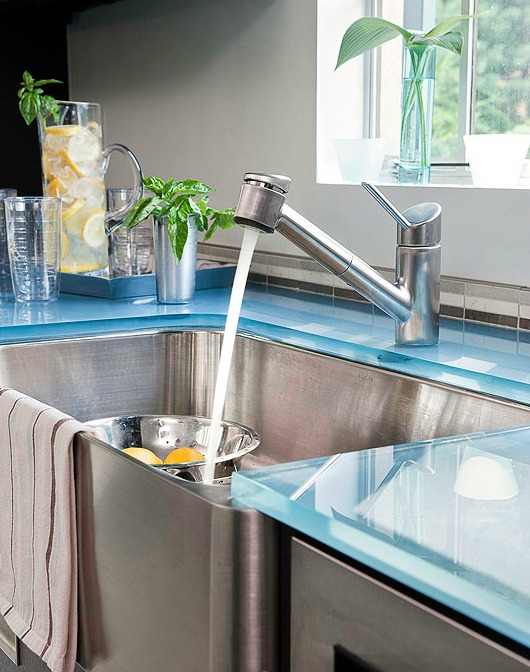 Blue Glass Kitchen Counter Top Idea