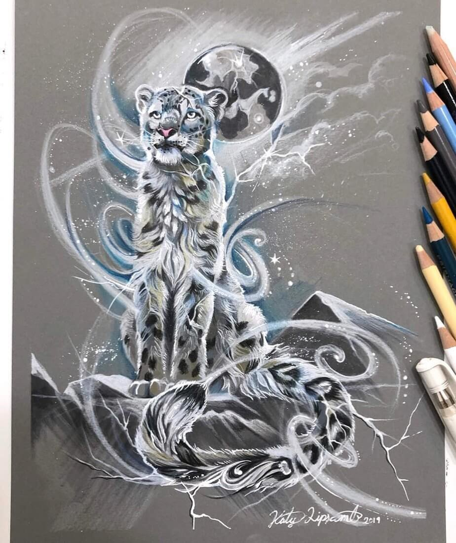 09-Spirit-Snow-Leopard-Animal-Drawings-Fantasy-Wolds-www-designstack-co