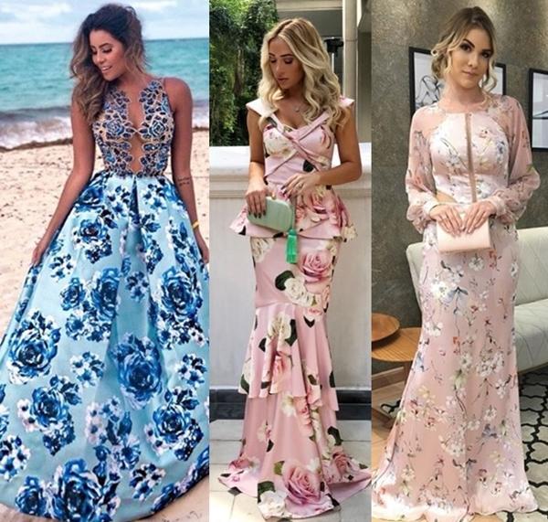 vestido longo estampado para madrinha e convidada de casamento