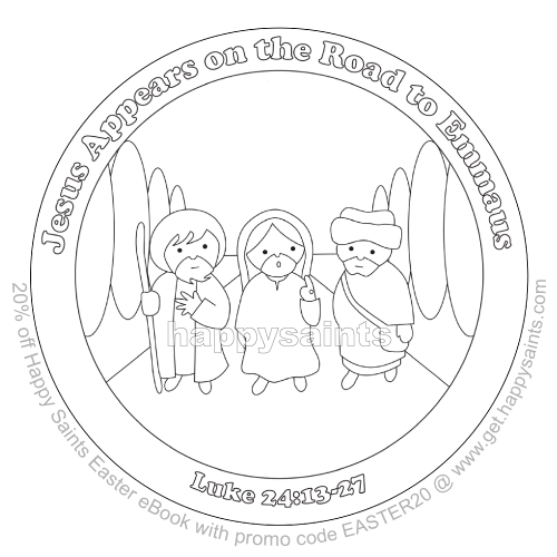 Jesus Appears On The Road To Emmaus Sample Coloring Page From HAPPY SAINTS EASTER EBOOK