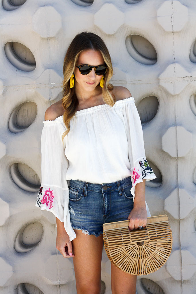 Easy Summer Style - An embroidered off the shoulder top and denim shorts for under $70