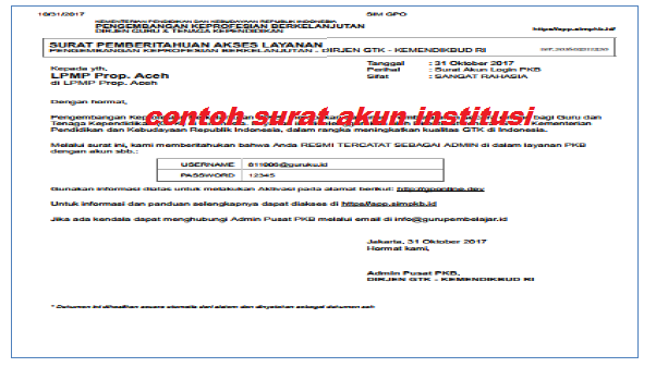 Contoh Surat Akun Institusi