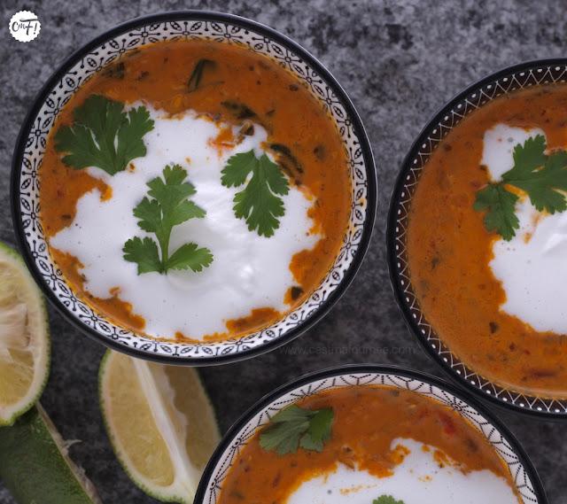 Soupe lentilles corail curry coco Ottolenghi