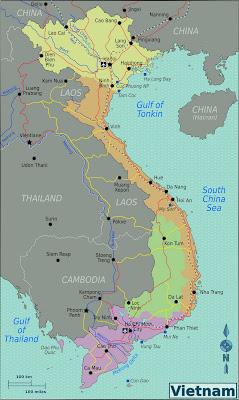 Mappa politica e geografica del Vietnam