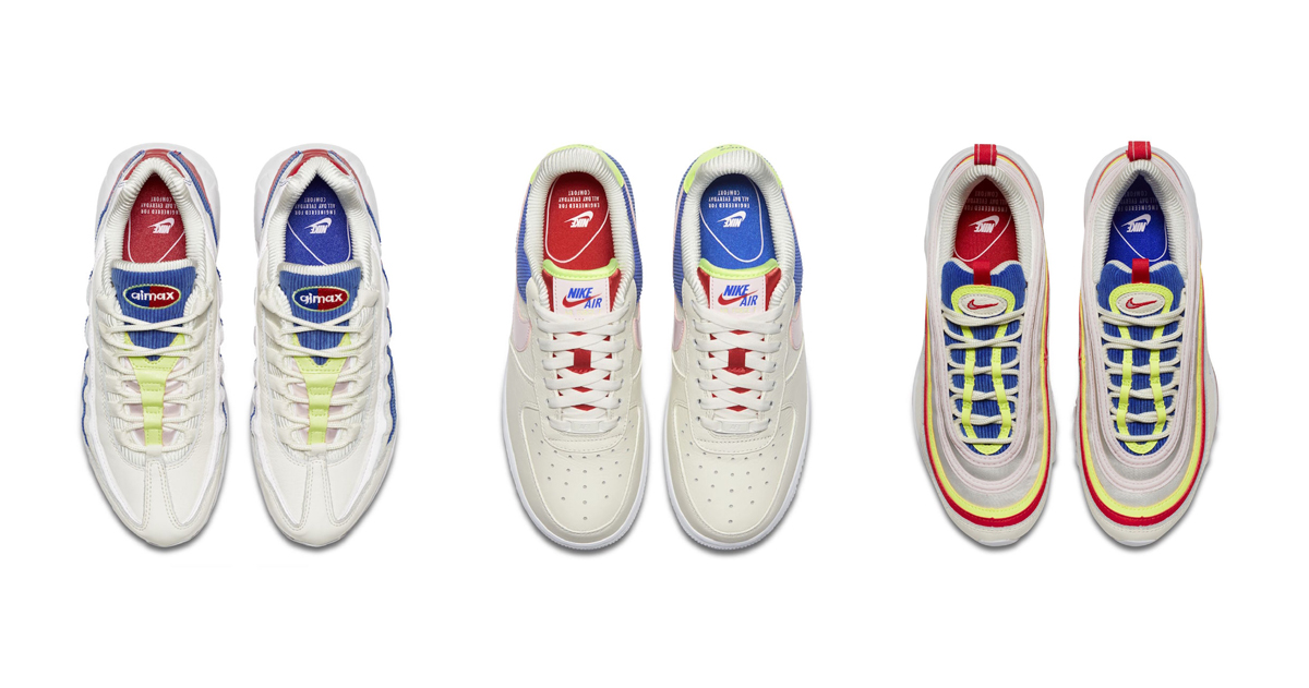 """ff5736e205 Utilizing the Air Max 97, Air Max 95, and Air Force 1, the Swoosh Brand's  new """"Corduroy"""" collection re-masters the fan favorite silhouettes with  bright ..."""
