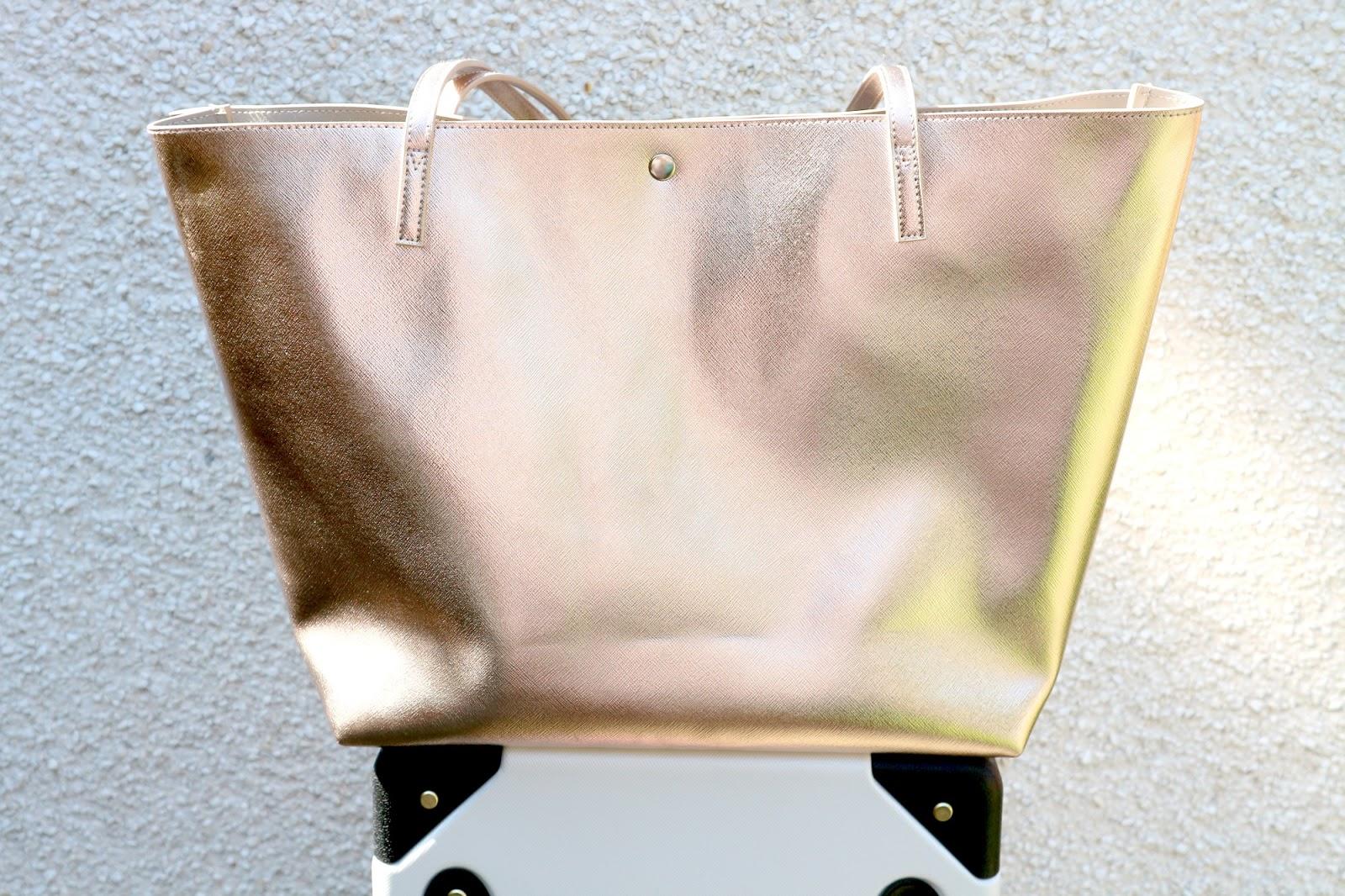 rose gold metallic tote bag paperchase