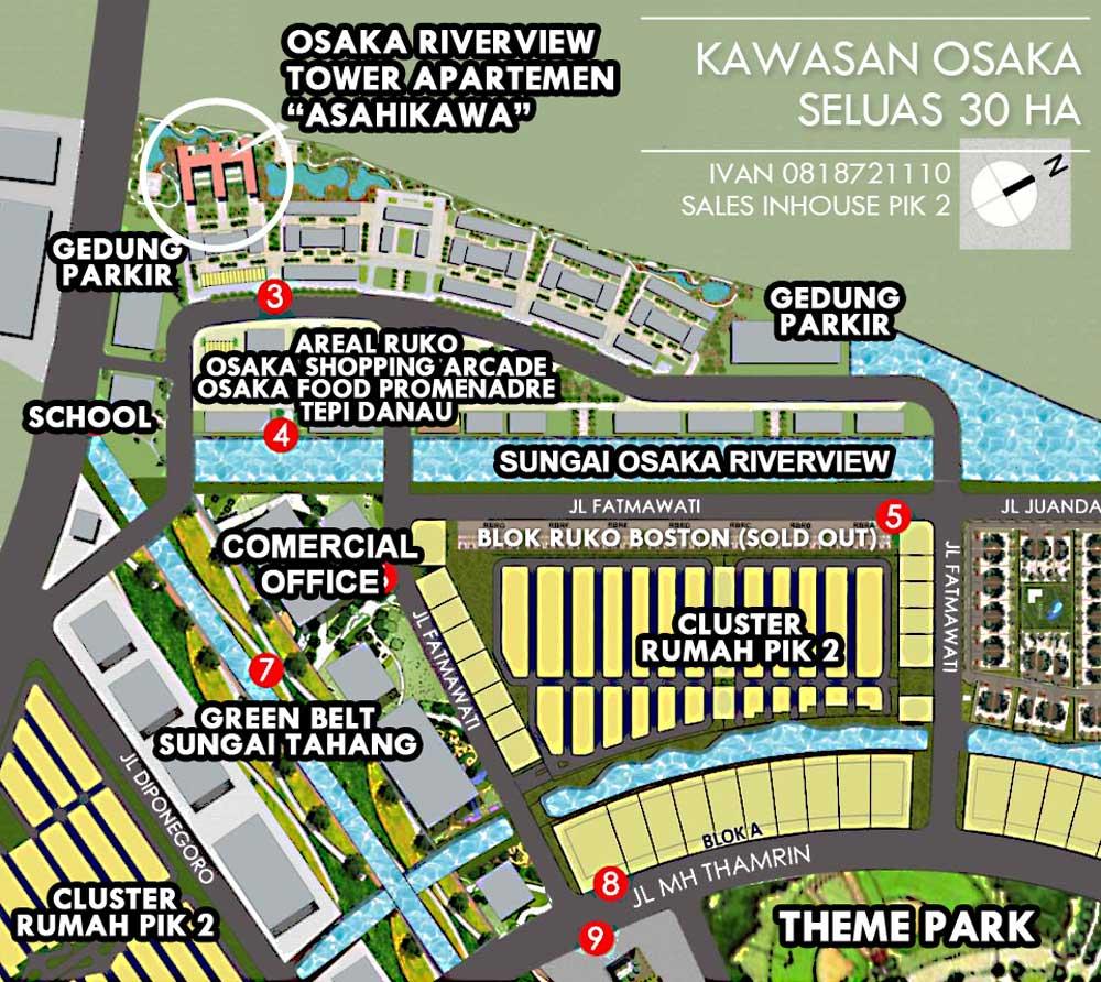 site plan apartemen pik 2 osaka riverview
