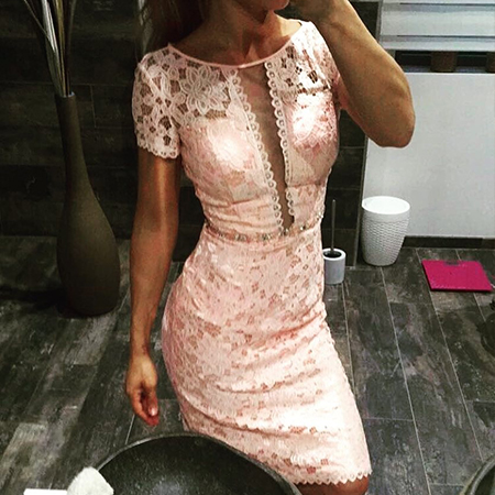 Pink Lace Short Sleeves Mother of the Bride Dress