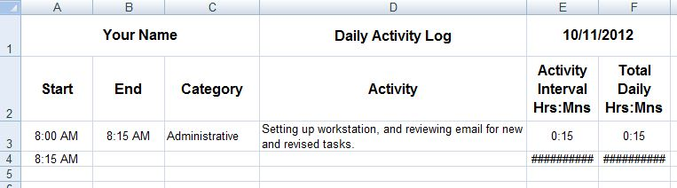 daily work log excel template