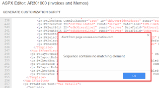 Acumatica Sequence contains no matching element