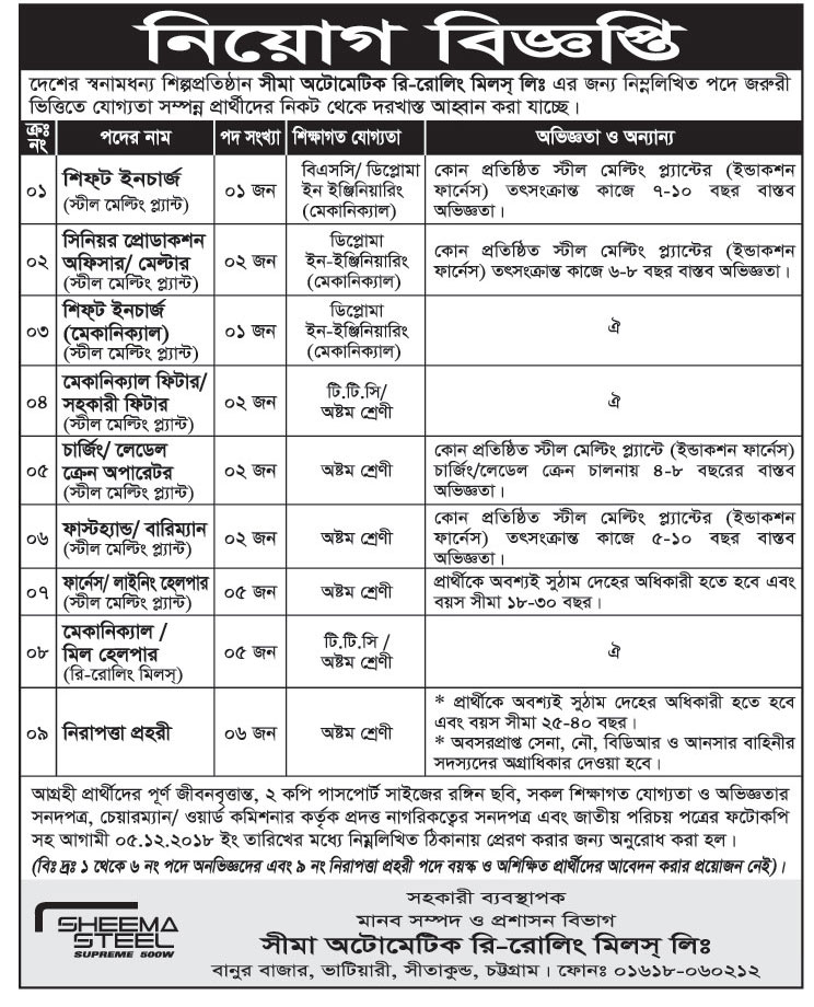 Seema Automatic Re-Rolling Mills Job Circular 2018