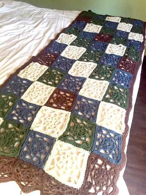 Pie de cama tejido crochet granny square