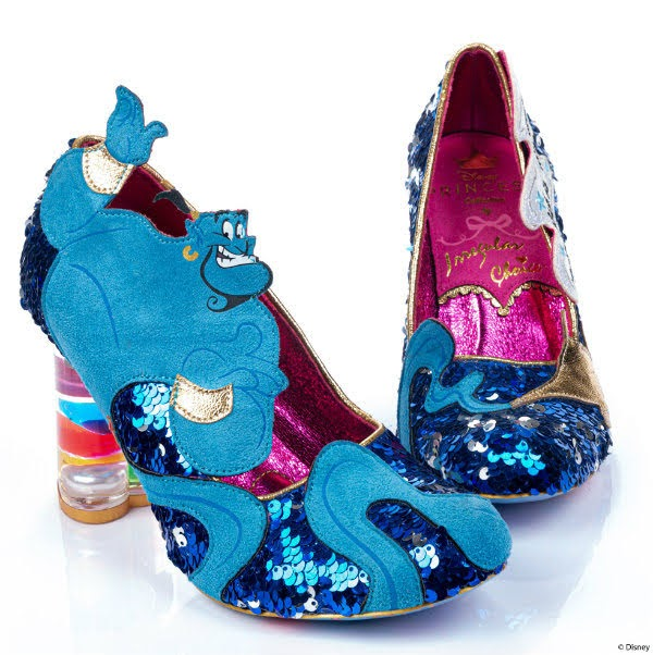 pair of blue sequin court shoes with Disney Genie character