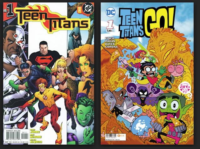 portada comics teen titans y teen titans go