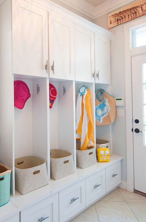 Built In Entryway Storage with Nautical Cleat Hardware