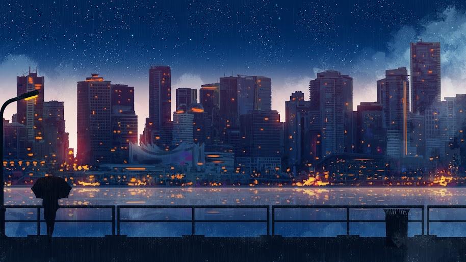Anime, Scenery, City, Buildings, Silhouette, 8K, #177