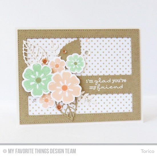 Floral Friends Card by Torico featuring the Lisa Johnson Designs Delicate Pretty Poppies stamp set, the Large Desert Bouquet and Desert Bouquet stamp sets and Die-namics, and the Wild Greenery, Layered Leaves, and Stitched Cover-Up Companion - Horizontal Die-namics #mftstamps