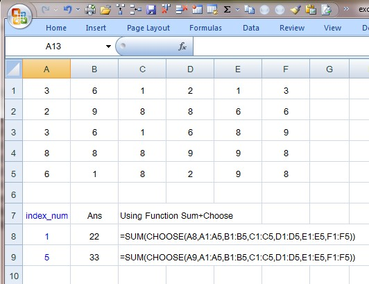 how to use choose function in excel