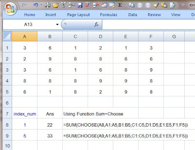 How to use Choose function + Sum in Excel