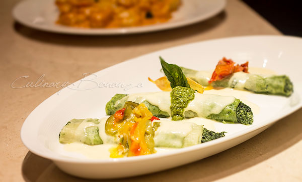 Cannelloni with ricotta, spinach & cheese fondant filling