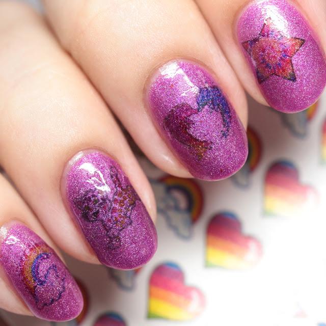 Lavish Polish Chasing Rainbows with Green Goddess Creations decals