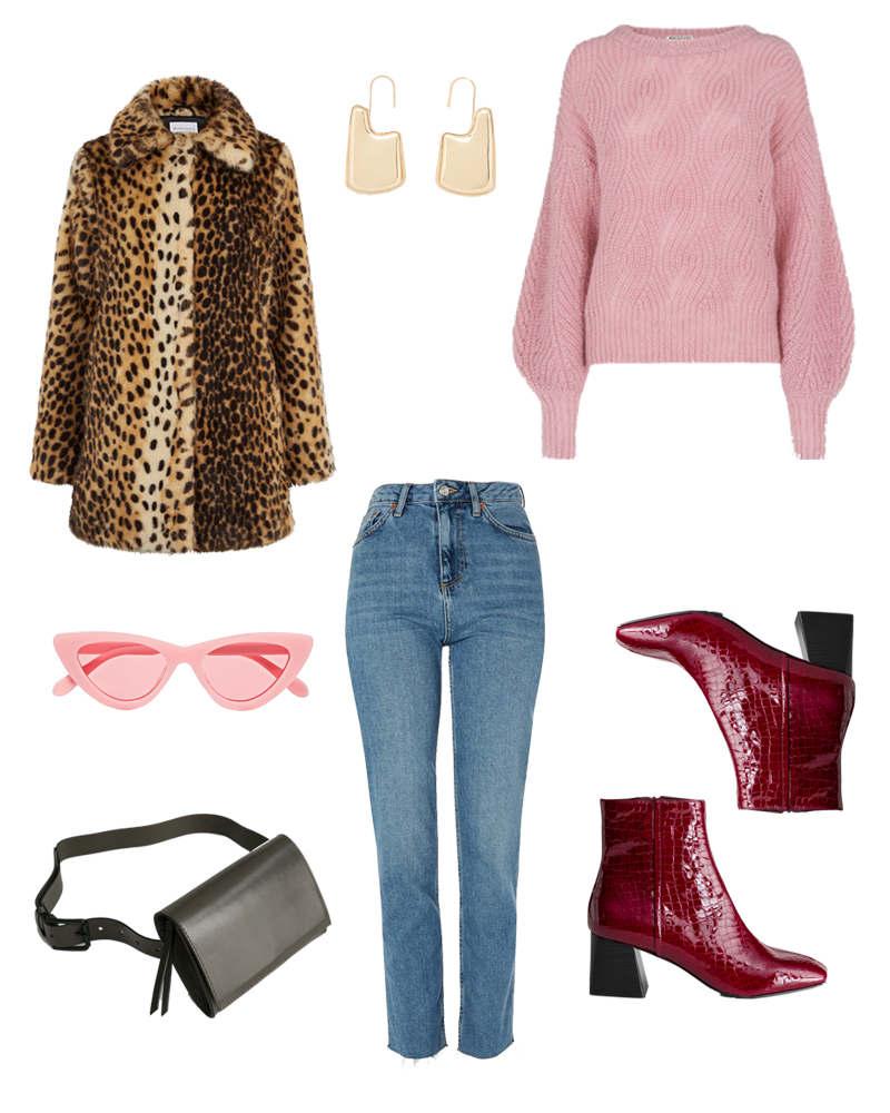 autumn, outfit, inspiration, leopard, coat, burgundy, maroon, pink,