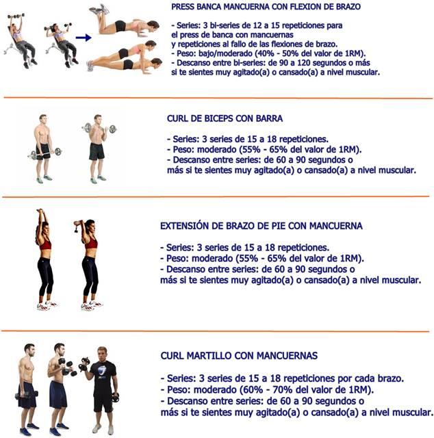 Rutina de ejercicios para el día miércoles: pecho y brazo