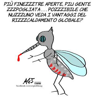 riscaldamento globale, global warming, climate change, zanzare, umorismo, vignetta, satira