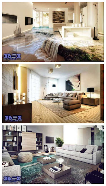 3d flooring for living room, 3d epoxy floor, 3d floor murals