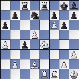 Posición después de 25.Axd2 de la partida de ajedrez Pomar vs. Eliskases, I Torneo Internacional de Ajedrez Costa del Sol 1961