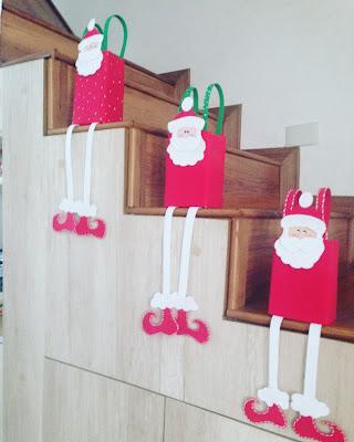 Reciclagem com caixa de leite para Natal