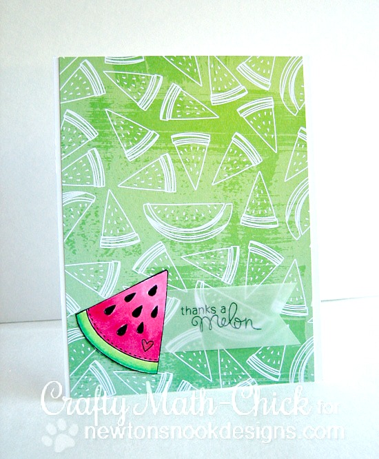 Ombré watermelon card by Crafty Math-Chick | Sweet Summer stamp sets by Newton's Nook Designs #newtonsnook