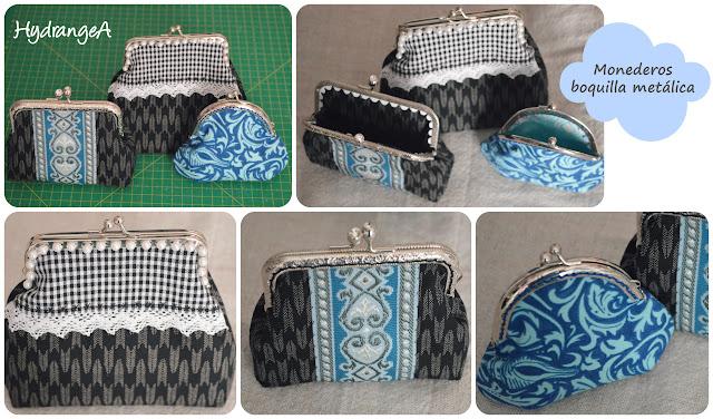 3 monederos con boquilla metálica, dos con boquilla rectangular de 10cm y 1 de boquilla redonda de 8,5cm, realizados en tela de algodón.